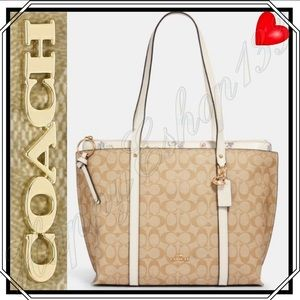Coach May Tote Signature Canvas Dandelion Flrl Pnt